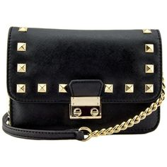 Amy Studded Mini Crossbody (£16) ❤ liked on Polyvore featuring bags, handbags, shoulder bags, mini shoulder bag, crossbody purses, studded shoulder bag, studded crossbody and mini crossbody purse