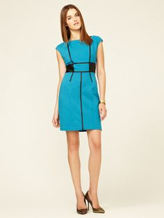Cynthia Steffe Taylor Leather Trimmed Colorblock Sheath