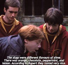 Harry Potter behind the scenes facts Rupert Grint slug eating