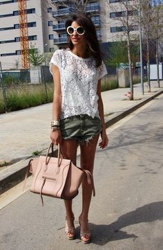 lace top, cut-offs, Yves Saint Laurent heels, Céline bag and Prada sunglasses.