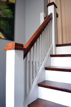 How to sand, stain and paint your stairs: Wk6-Stairwell-Makeover-Balustrade-and-risers-FancyFreeMe