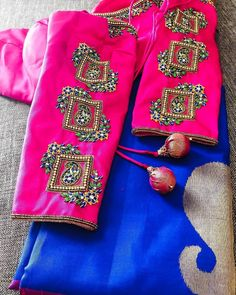 Photo shared by missblouses on November 2019 tagging Best Blouse Designs, Bridal Blouse Designs, Kurti Designs Party Wear, Kurta Designs, Magam Work Designs, Pattu Saree Blouse Designs, Work Blouse, Sleeve Designs, Maggam Works