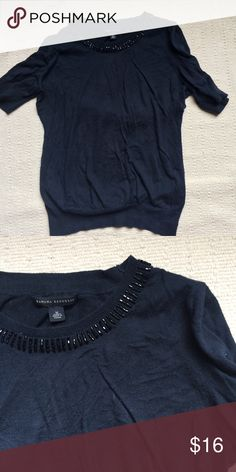 Banana Republic Short Sleeve Beaded Sweater Comfy and classic short sleeve sweater with beading on the collar. Some minor pilling. 80% cotton, 15% modal, 5% silk. Banana Republic Sweaters Crew & Scoop Necks