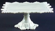 "Westmoreland ""Ring and Petal"" Pattern Cake Stand in Milk Glass"