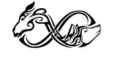 Tatuaggio di Cavallo e lupo, Dualismo tattoo - TattooTribes.com