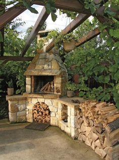 The handmade sandstone fireplace is always an original piece. Garden Cottage, Home And Garden, Patio Design, Garden Design, Sandstone Fireplace, Outdoor Oven, Summer Kitchen, Backyard Projects, Garden Furniture