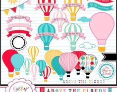 40% off Hot Air Balloons clipart with bright colors Up, Up, and Away, INSTANT Download