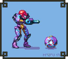 "Cyangmou on Twitter: ""The super cool Samus Returns gravity suit as 2D Sprite like traditional Metroid"