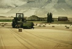 """2007, Tending Fields by Joseph Alleman Watercolor ~ 7"""" x 9"""""""