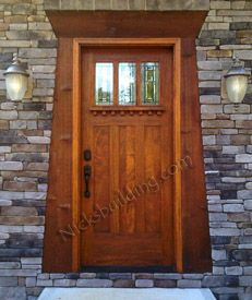 Craftsman Style Doors made from Solid Mahogany with optional Dentil Shelf and choice of Art Glass or Clear Glass. Craftsman Style Exterior Doors for that timeless arcitectural design. Craftsman Style Front Doors, Craftsman Style Exterior, Craftsman Door, Craftsman Bungalows, Craftsman Furniture, Craftsman Homes, Bungalow Homes, Wood Entry Doors, Wooden Doors