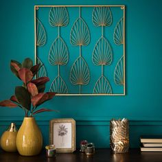 Candles & home scents, Home Accessories, Glass Candle Holder with Gold Metal Leaves Golden Fern. Teal Living Rooms, Living Room Decor, Bedroom Decor, Home Scents, Home Fragrances, Murs Turquoise, Teal Walls, Gold Diy, Metal Homes