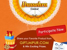 We are here with our Amazing #Dussehra #Contest.Select Your Favorite product(with Interesting Caption) for Your Loved ones & Win Exciting #Prizes.  Participate Here - https://www.facebook.com/giftjaipur/