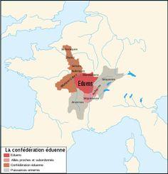 La confédération éduenne alliée de Rome face aux Arvernes et Séquanes.- VERCINGETORIX. 3 La guerre des Gaules. 3.1: SITUATION DE LA GAULE AU 1°s AV JC, 4: Au total ces territoires sont très peuplés et comptent de 9 à 10 millions d'habitants. Depuis le milieu du II°s av JC, et surtout après la conquête romaine du sud, les EDUENS ont fait allégeance avec Rome et tissé avec elle des liens commerciaux, politiques et militaires trés forts.