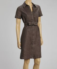 Mocca Linen Button-Up Dress | something special every day