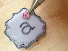 Mini plaque monogram cookies