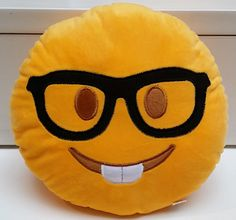Sale Nerd Geek Eyeglasses Emoji Pillow US Seller