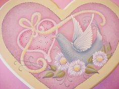 Handpainted Heart Stool Pink with Dove Design by ToletallyPainted