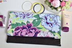 Purple Flowers Folding Clutch