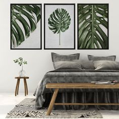 Tropical Leaves Wall Art Print Set | Collection 8 Tags: monstera deliciosa; delicious monster; swiss cheese plant; wall art; wall print; wall decor; tropical; leaves; leaf; closeup; detail; greenery; green and grey decor; bedroom decor; leaf; leaves; green and grey bedroom; home decor; office decor