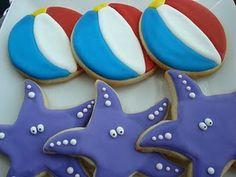 star fish and beach ball cookies