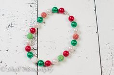 Christmas Bubblegum Necklace, chunky bead necklace, baby chunky necklace, chunky necklace, toddler girls necklace,photo prop necklace on Etsy, $10.95