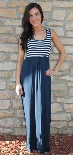 Dottie Couture Boutique - Navy & White Striped Maxi $46