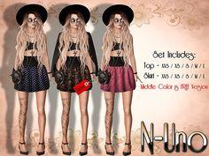N-Uno Store - Saia e Top - Summer Day -BLACK FREE GIFT