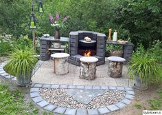 hay pole, summer kitchen, Arabic, houses the home of dreams, stone Garden Yard Ideas, Backyard Garden Design, Backyard Landscaping, Outdoor Kitchen Plans, Outdoor Projects, Outdoor Decor, Diy Grill, Outdoor Buildings, Fireplace Garden