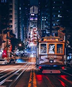 California Street by boravsbora - The Best Photos of San Francisco including the Golden Gate Bridge, Fisherman& Wharf, the Cable Cars and other popular San Francisco sites and attractions. San Francisco Sites, San Francisco At Night, San Francisco California, California Dreamin', San Francisco Photography, San Fransisco, Best Cities, Travel Usa, Wonders Of The World