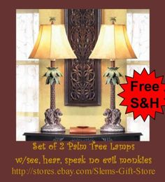 *Set of 2, Monkeys Bahama Lamps* For that Jungle Safari Room! http://stores.ebay.com/Slems-Gift-Store *OR* order directly from me at dslem3@yahoo.com and receive 20% off any item in the store!