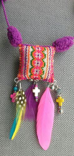 Necklace/pendant textile multicolor Bohemian spirit by VeronikB