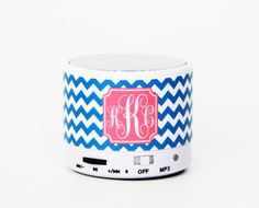 Bright Blue Chevron Custom Monogram Wireless Bluetooth Mini Speaker