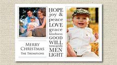 "Custom Photo Christmas Card Holiday Card - ""Good Will"" - Vivian Elle on Etsy http://www.etsy.com/shop/VivianElle"
