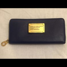 Marc by Marc Jacobs zip around leather wallet Dark indigo leather brand new with tags Marc by Marc wallet. Lots of places for credit cards and change purse inside. Marc by Marc Jacobs Bags Wallets