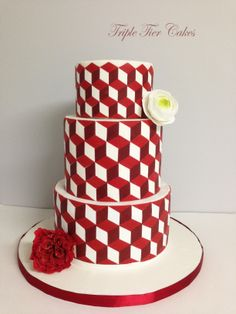 Modern red and white cake with geometric patterns. - Cake by Triple Tier Cakes Wedding Cake Red, Beautiful Wedding Cakes, Beautiful Cakes, Amazing Cakes, Modern Cakes, Unique Cakes, Geometric Cake, Geometric Patterns, Fondant Cakes