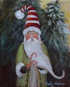 Christmas Oil Painting Whimsical Peppermint by ChatterBoxArt Christmas Canvas, Noel Christmas, Father Christmas, Christmas Projects, Holiday Crafts, Vintage Christmas, Christmas Ornaments, Xmas, Coastal Christmas