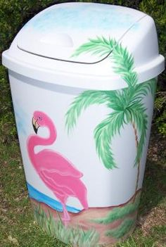 Image Detail for - Pink Flamingo Wastebasket Flamingo Craft, Flamingo Decor, Flamingo Party, Pink Flamingos, Painted Trash Cans, Pink Bird, Everything Pink, Art Design, My New Room