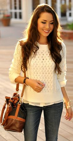 Really want this cable knit sweater!  Perfect w jeans and sheer button down w collar inside.