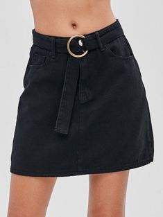 Yes Spring and Summer Zipper Pockets Solid A-Line Mini Daily Fashion Belted Pocket Denim Skirt Fashion Belts, Pop Fashion, Skirt Fashion, Daily Fashion, Fashion Outfits, Fashion Women, Short Skirts, Mini Skirts, Denim Noir