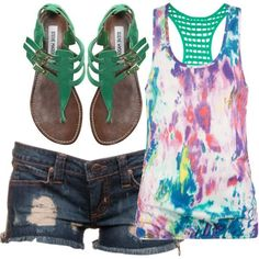 Summer. #tie-dyed #SteveMadden #ShortShorts.