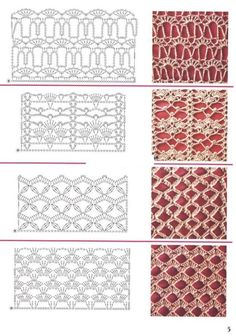 Crochet Edging And Borders Crochet Borders and Edging Col Crochet, Crochet Stitches Chart, Crochet Patron, Crochet Motifs, Crochet Borders, Crochet Diagram, Filet Crochet, Knitting Stitches, Knitting Patterns