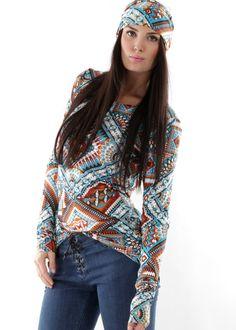 Bohemian Couture Longsleeve Shirt Aztec: GUNDI BLIND, Germany