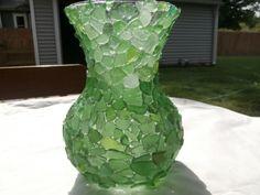 Beach Glass Vase Seaglass Art Beach Weddings Nautical Decor Shades of Green