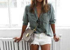 SINCERELY JULES 'Riley' white denim shorts / CHLOE 'Drew' cross body bag http://FashionCognoscente.blogspot.com
