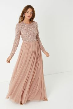 Buy Maya Long Sleeve Delicate Sequin Maxi Dress from the Next UK online shop Pink Bridesmaid Dresses Long, Prom Dresses Long With Sleeves, Long Sleeve Maxi, Maxi Dress With Sleeves, Bridal Dresses, Long Sleeve Maternity Dress, Ball Dresses, Bridesmaids, Pink Sequin Dress