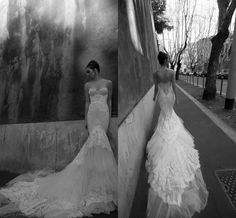Not always a fan of mermaid , but the tiered train is fabulous!! | 2014 Sexy Vestido De Noiva Cathedral Mermaid Wedding Dress Sweetheart Zipper Back Tiered Ruffles Tulle Nice Appliques Lace Inbal Dror ID1202