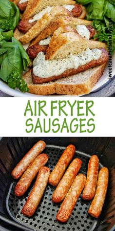 Air Fryer Sausages are a quick dinner recipe! The Air fryer cooks the sausages just like the BBQ does. You can use beef, pork or chicken sausages and in less than 15 mins, they are done! #easyrecipes #airfryerrecipes @sweetcaramelsunday