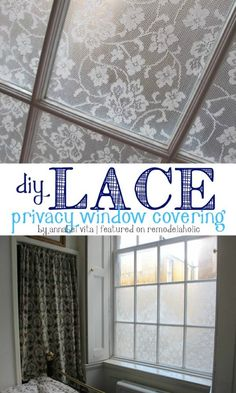 DIY Lace Privacy Window Covering---- bathroom shower window?!?!