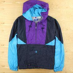 vtg 90s CHAMPION colorblock pullover windbreaker XL shell jacket fresh prince #Champion