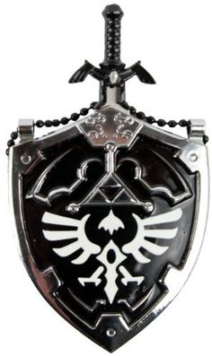 Mini DARK Hylian Shield & Links Master Sword Legend of Zelda Necklace by Anyblades.com. $11.47